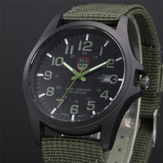XINEW Fashion Luxury Outdoor Sports Men's Watch Calendar Date Mens Steel Analog Quartz Watch Military Army Wrist Watches