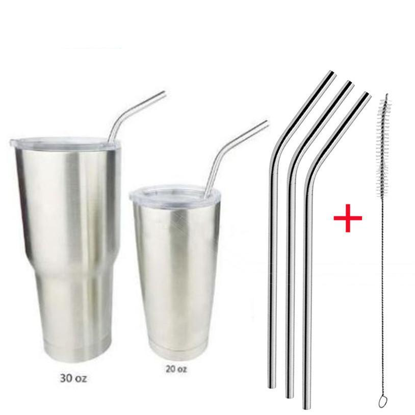 TENSKE 3 Pcs Reusable Stainless Steel Metal Drinking Straw Reusable Straws + 1 Cleaner Brush Kit