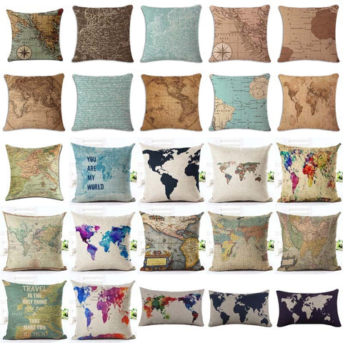 Cushion Covers - World Map  Series