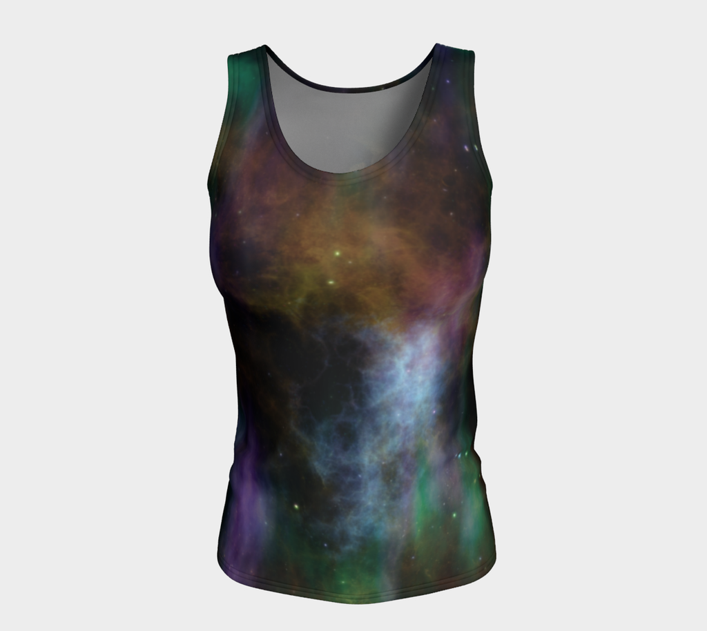 'Cosmic Planet' Fitted Long Tank Top