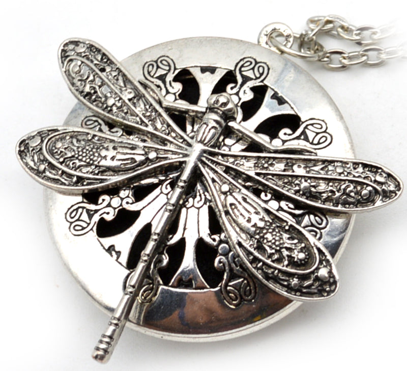 Antiqued Silver Dragonfly Aromatherapy Diffuser Locket