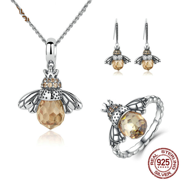 925 Sterling Silver Honey Bee Jewelry Set