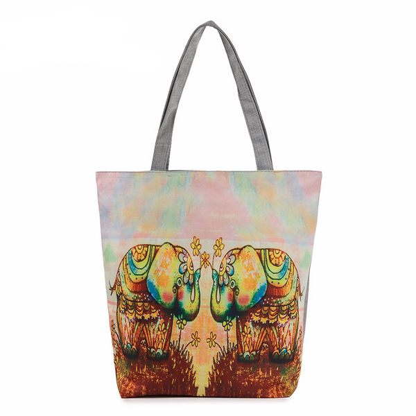 Elephant Printed Canvas Bags