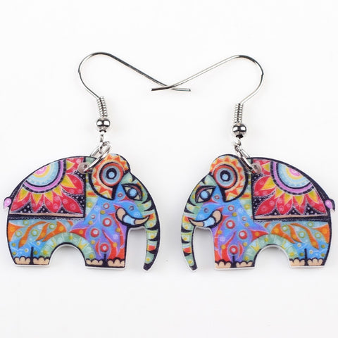 Elephant Earrings Patterned