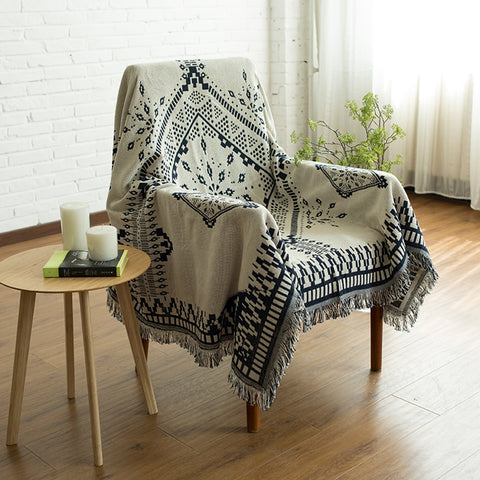 Navy Blue White Kilim Reversible Blanket