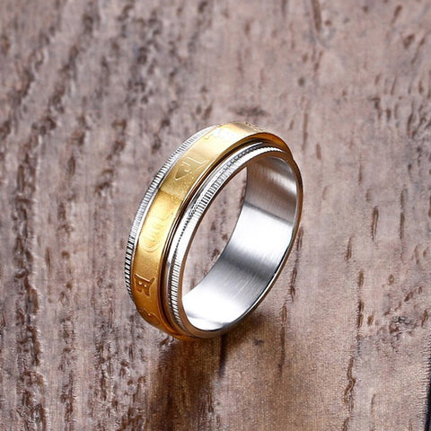 Stainless Steel Tibetan Gold Rotating Blessing Rings