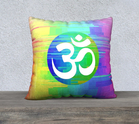 "'White OM Rainbow' Cushion Covers 22""x22"""
