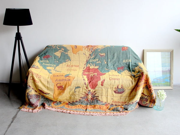 World Map Cotton Bohemian Blanket