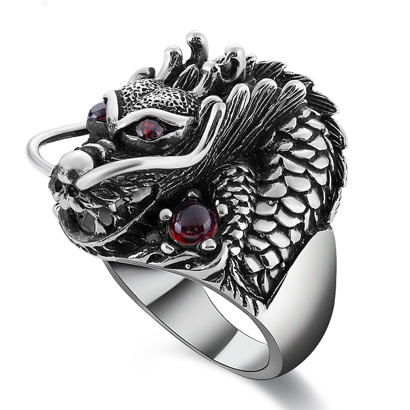 Dragon Silver & Red Zircon Ring