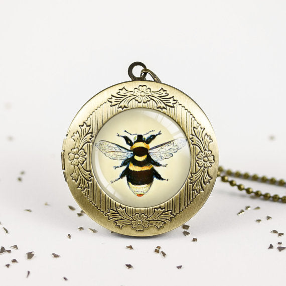 Bumble bee necklace - honey bee jewelry