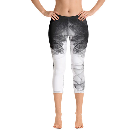Black-White Tulle Yoga Capri Leggings
