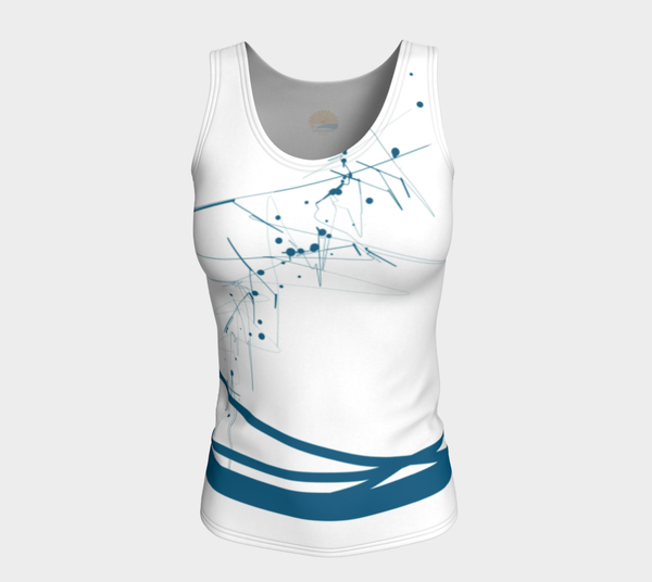'Blue-Geo' FITTED LONG Length Tank Top