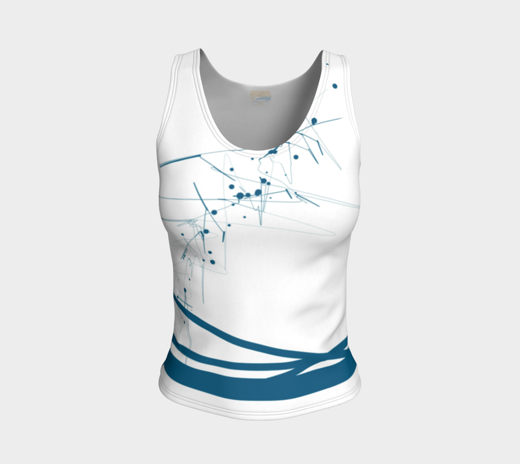 'Blue-Geo' FITTED REGULAR Length Tank Top