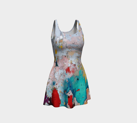 'Graffiti Wall Paint' Flare Dress