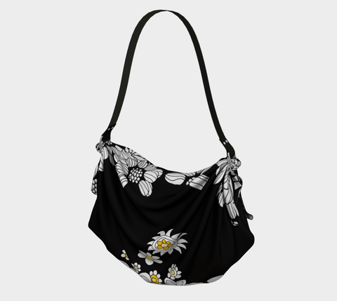 B&W Flower Origami Tote Bags