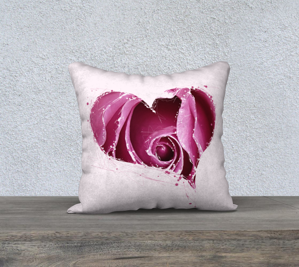 "'Pink Rose' Splatter Cushion Covers 18"" x 18"""