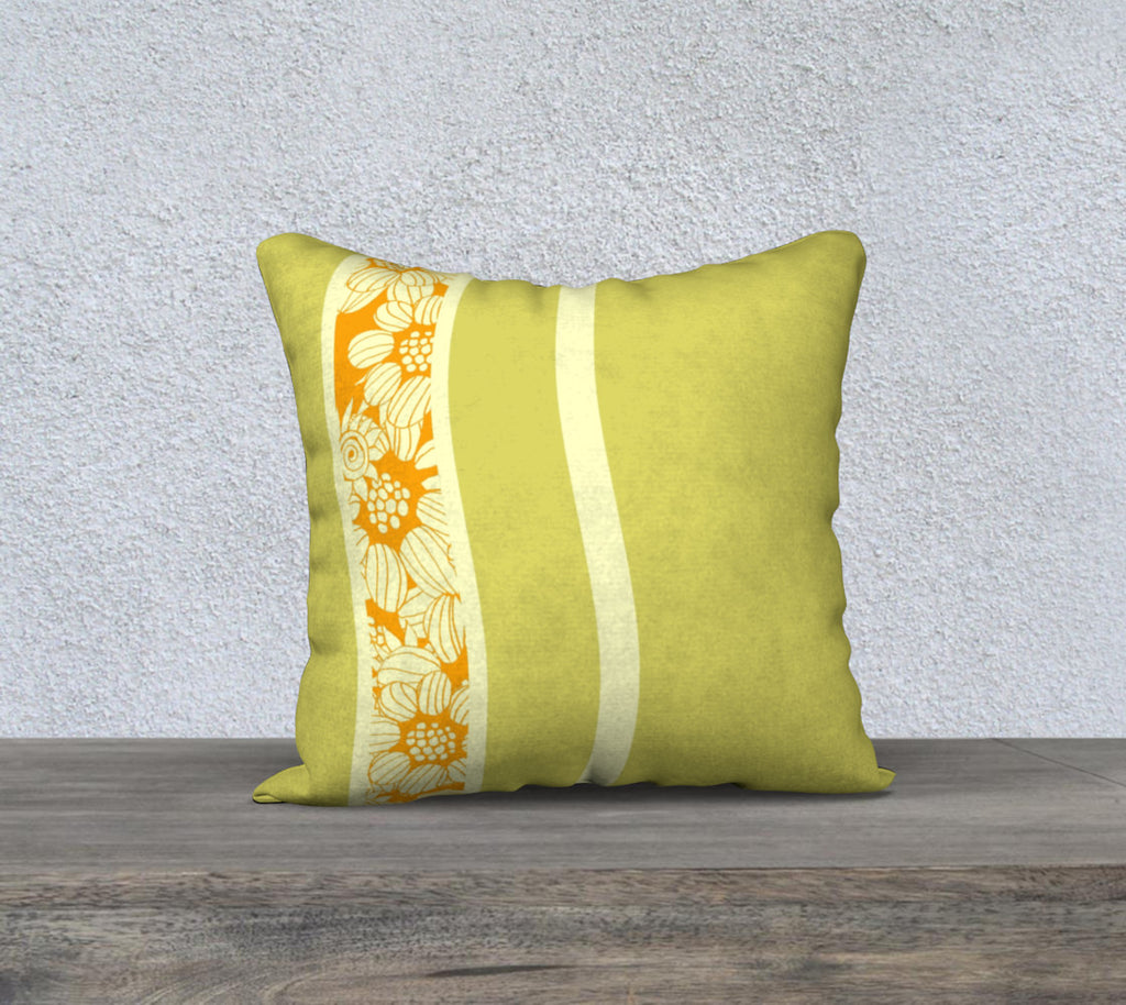 "'Green & Orange Flower Maze Stripey' Throw Cushion 18"" x 18"""