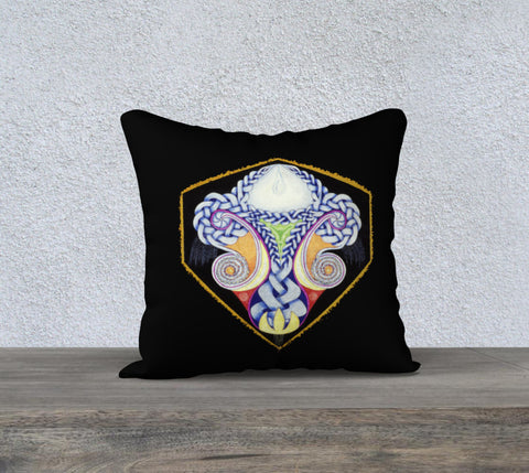 'Black Celtic Design' Cushion Cover 18x18