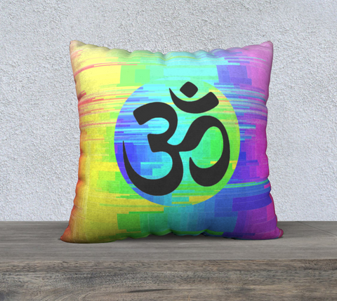 "'Black OM Rainbow' Cushion Cover 22""x22"""