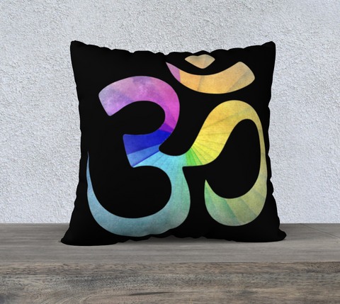 "'Rainbow OM' Cushion Covers 22""x22"""