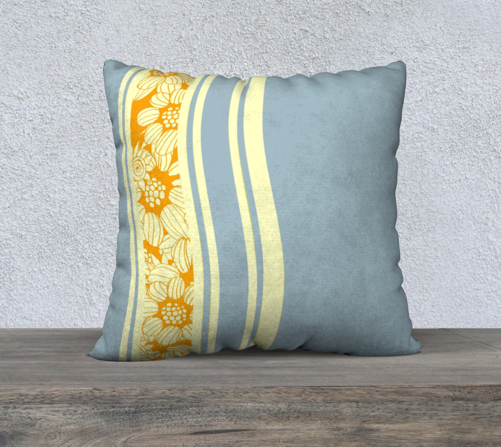 "'Orange-Blue Flower Maze' Stripey Cushion Covers 22"" x 22"""