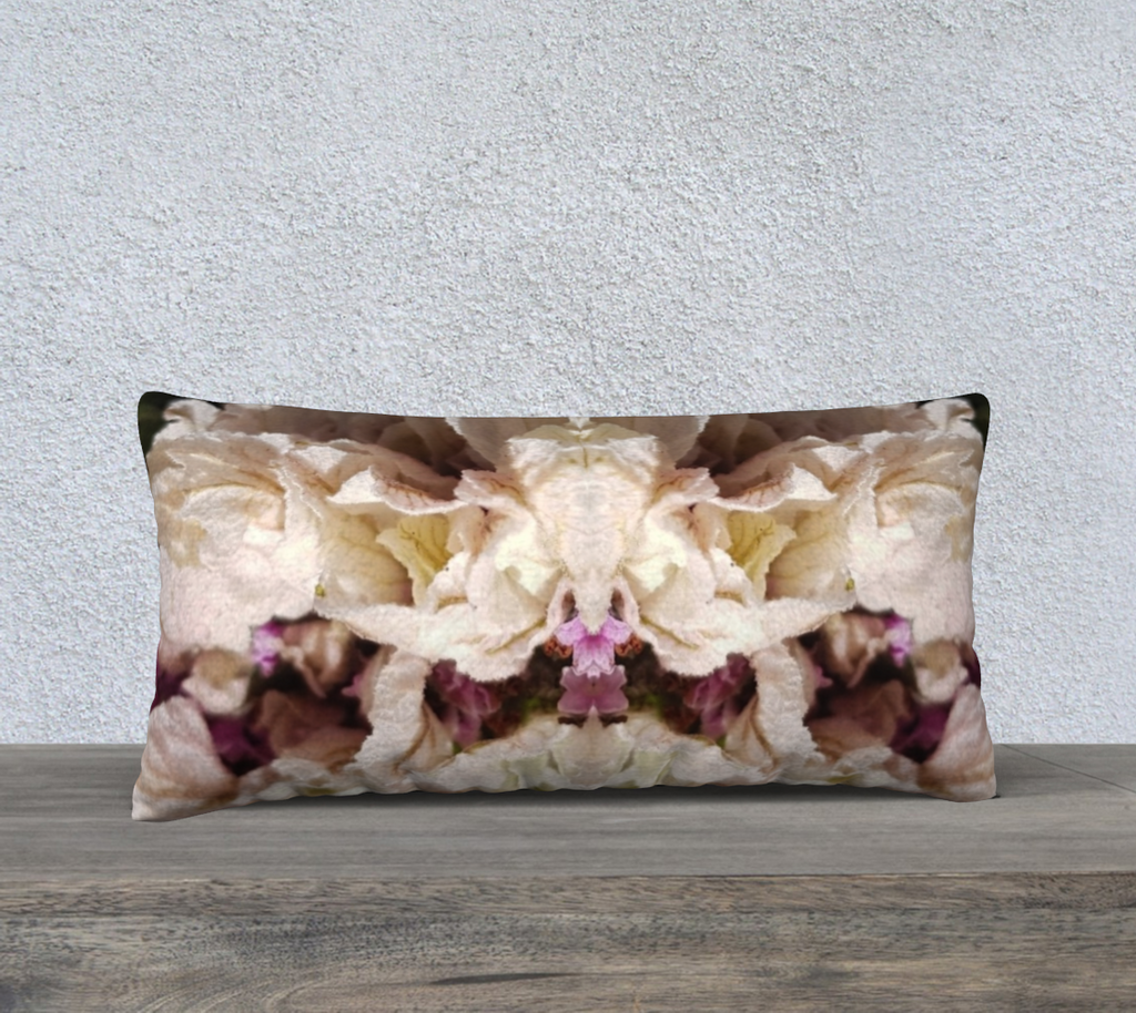 "'Double Pink Lavender' Long Cushion Cover 24"" x 12"""