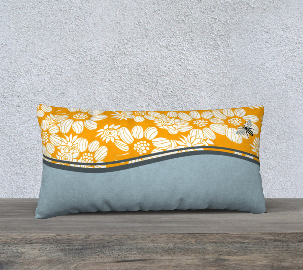"'Orange & Blue Flower Maze' Long Cushion Covers 24"" x 12"""