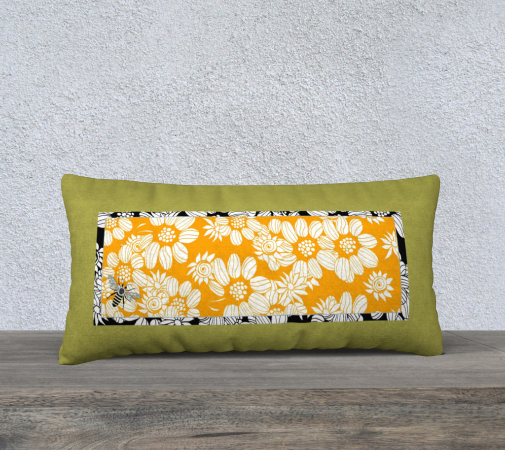 "'Green & Orange Flower Maze' Long Cushion Covers 24"" x 12"""