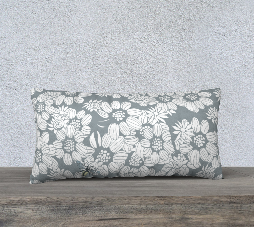 "'Denim Blue Flower Maze & Bee' Long Cushion Covers 24"" x 12"""
