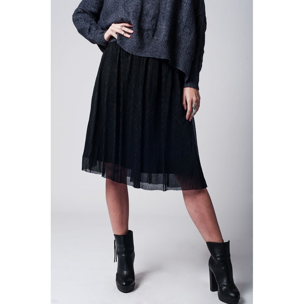Black Metallic Pleated Midi Skirt