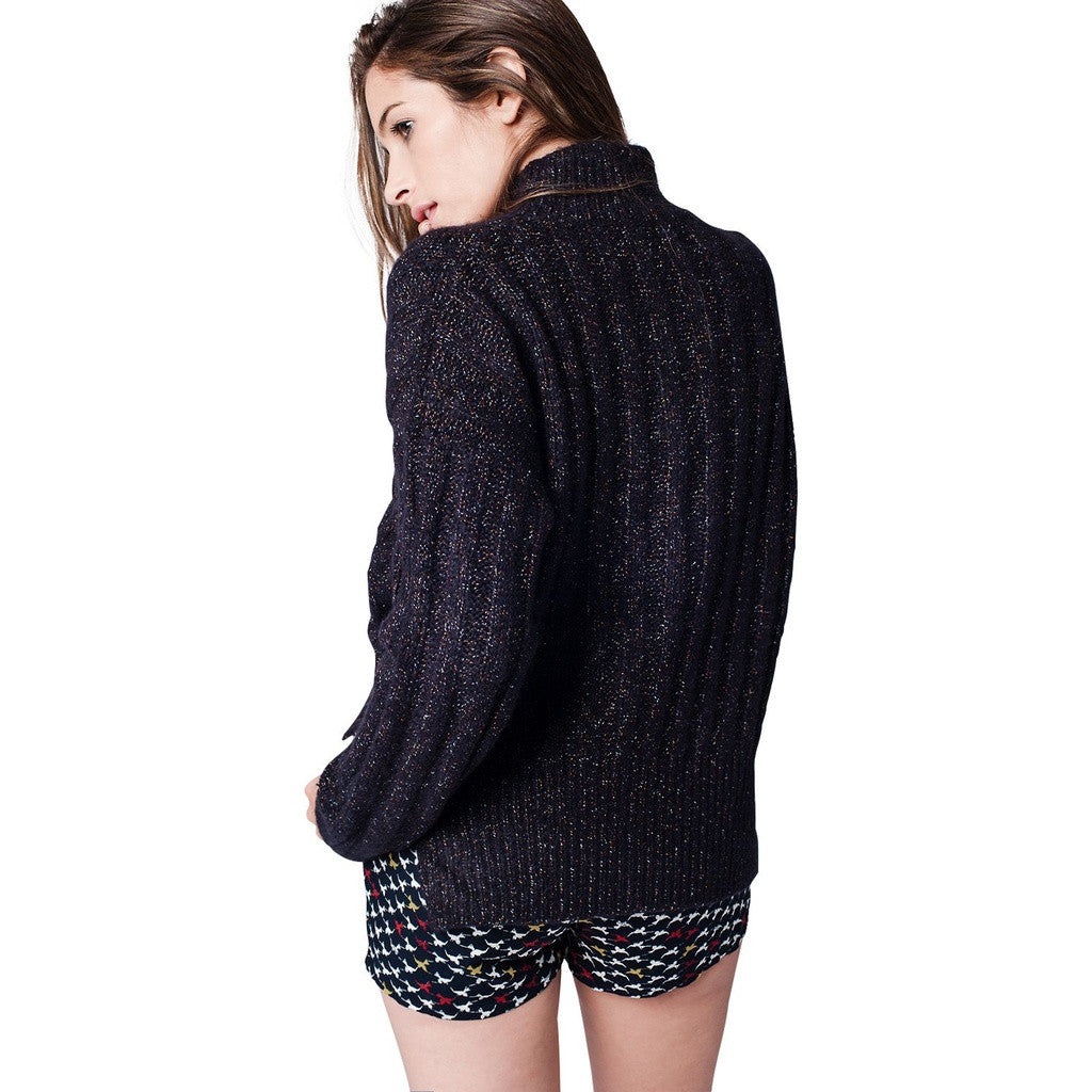 Navy Twisted Yarns Knitted Sweater - fifthandmaple
