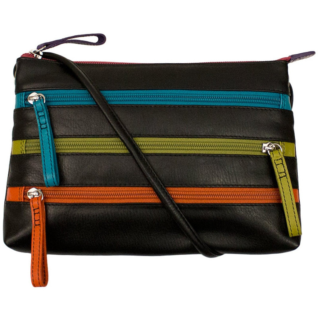 Leather Crossbody Bag with 3 Zippers - Black Brights