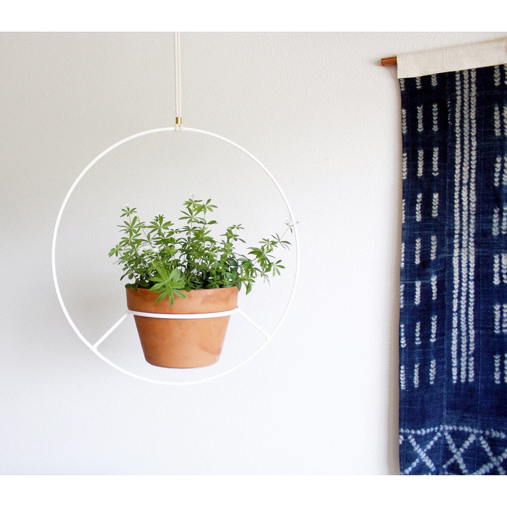 Hanging Plant Holder - White Metal - fifthandmaple