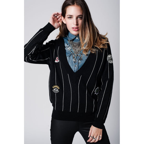 Black Knitted Badge Stripe Sweater - fifthandmaple