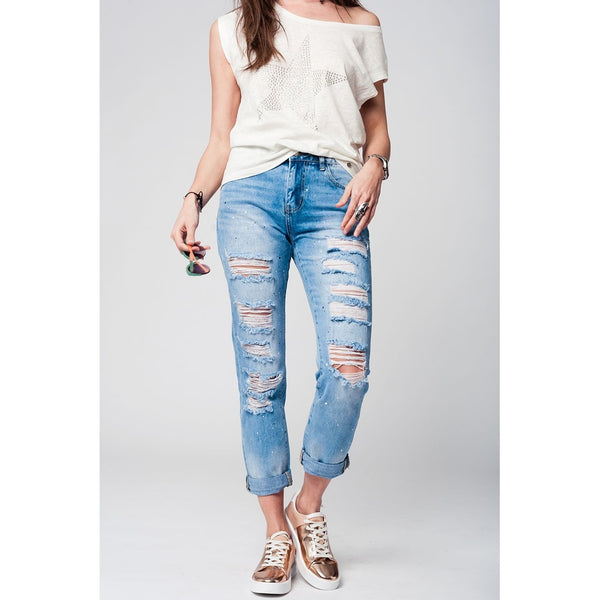 Denim Worn Out Jeans, Paint Splatter - fifthandmaple