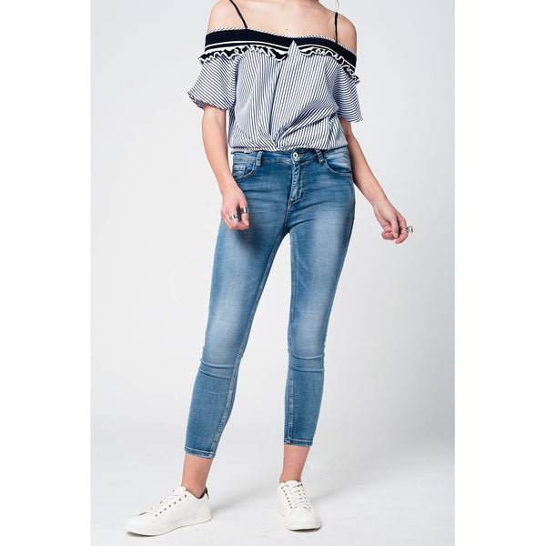 Light Blue Cropped Jeggings - fifthandmaple