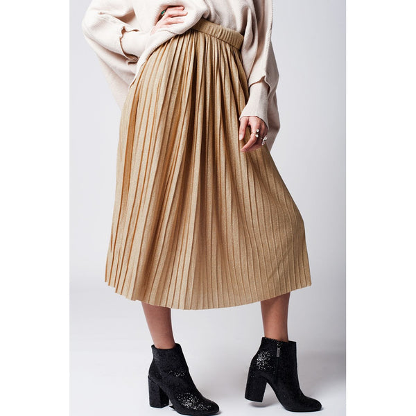 Gold Pleated Skirt, Lurex