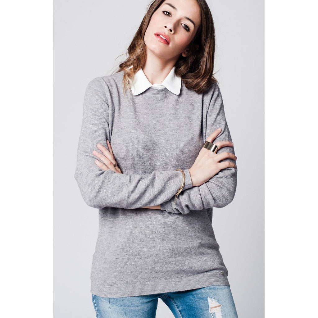 Grey Collared Jersey Sweater