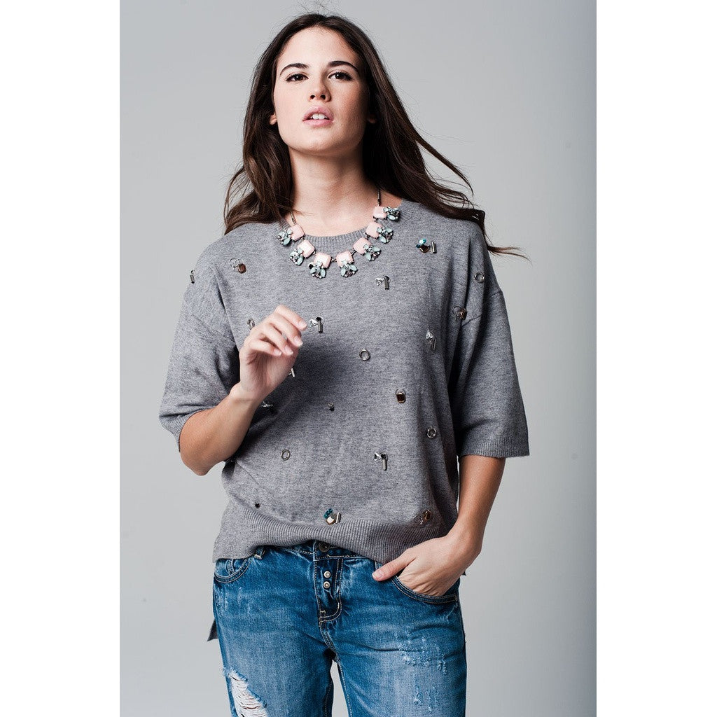 Jewelled Grey Jumper