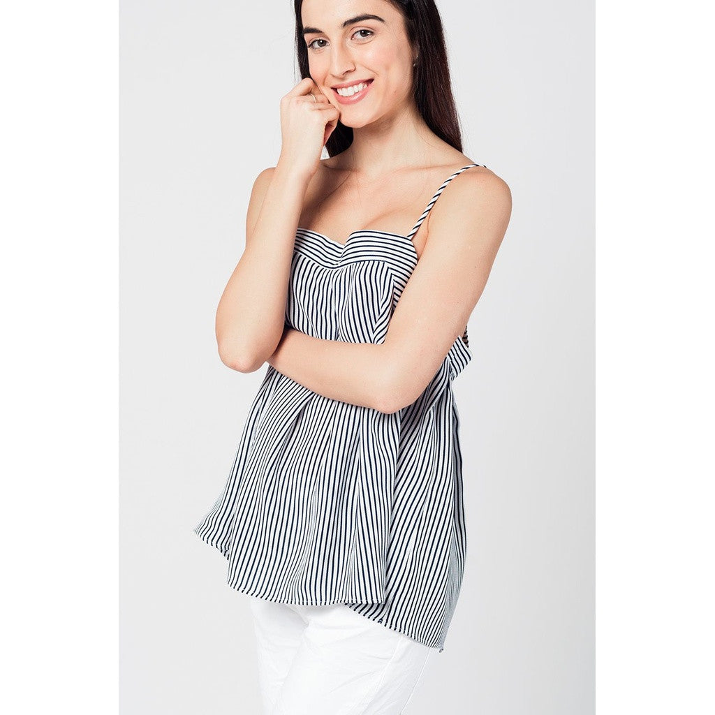 Cami Navy and White Stripe Top