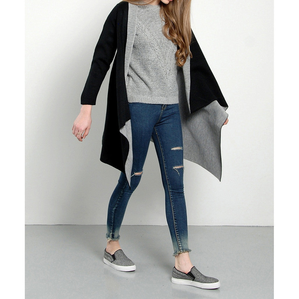 Contrast Drape Winter Coat