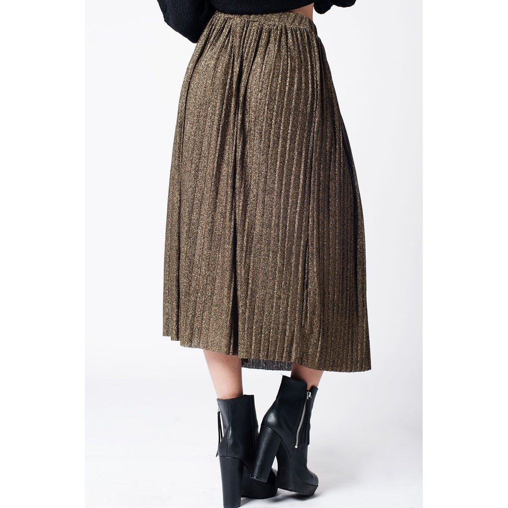 Black pleated skirt with gold lurex - fifthandmaple