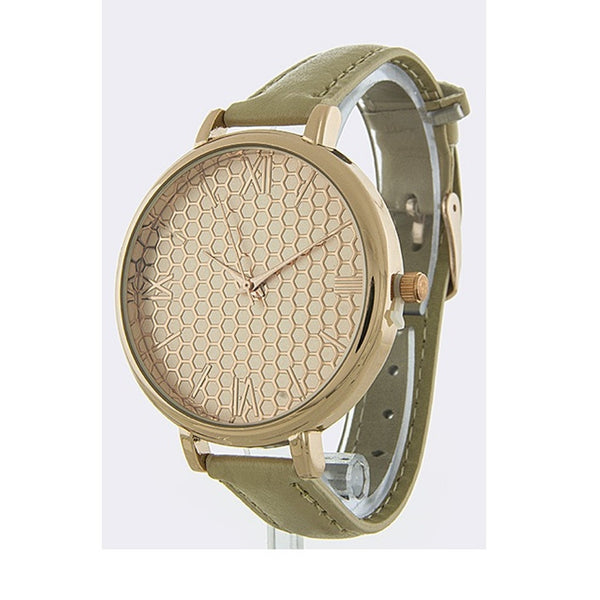 Beige Honeycomb Faux Leather Band Watch