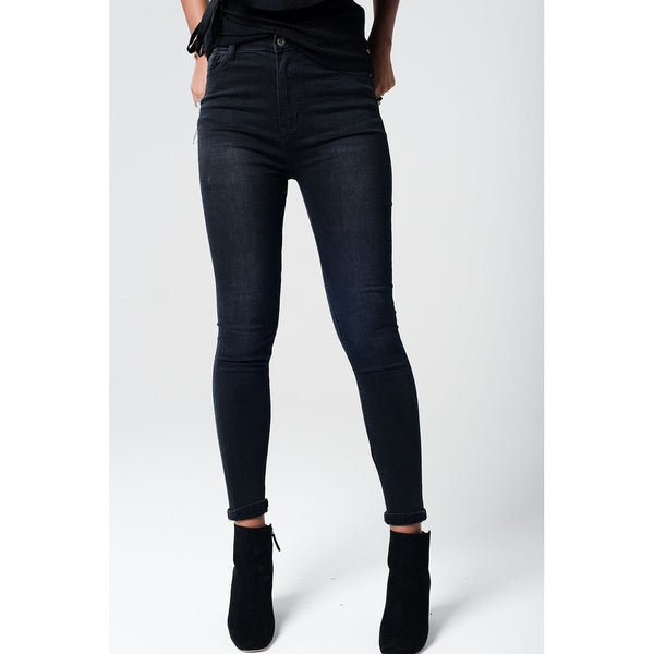 High Waist Skinny Jeans - fifthandmaple