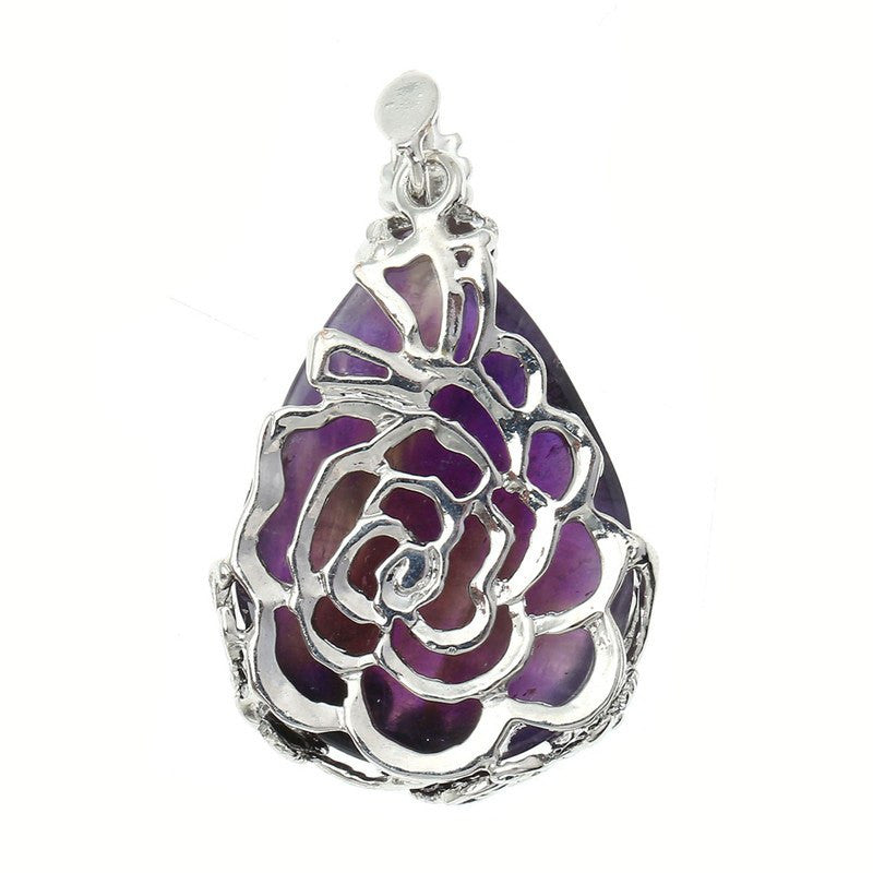 Amethyst Teardrop Pendant Necklace