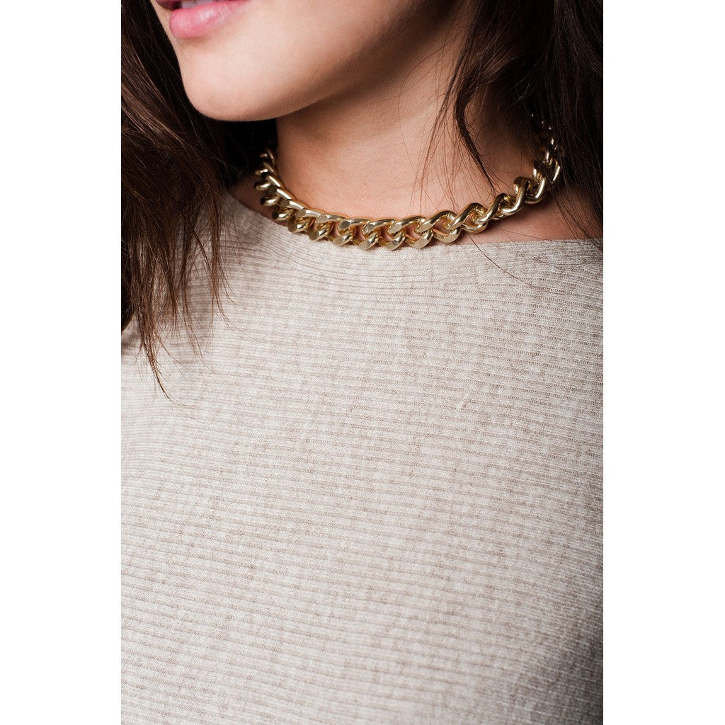 Beige Textured Knit Boat Neck Sweater - fifthandmaple