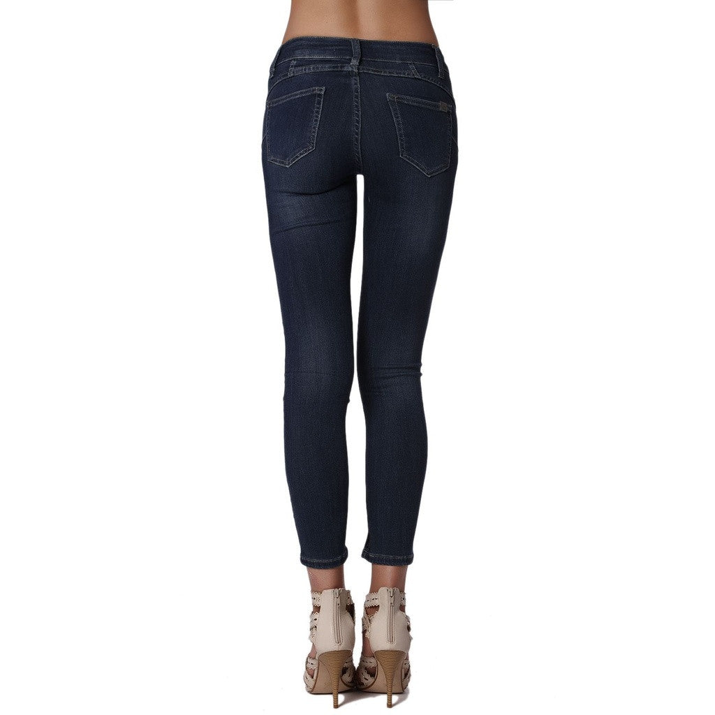 Push Up Skinny Mid Rise Jeans, Dark Wash - fifthandmaple