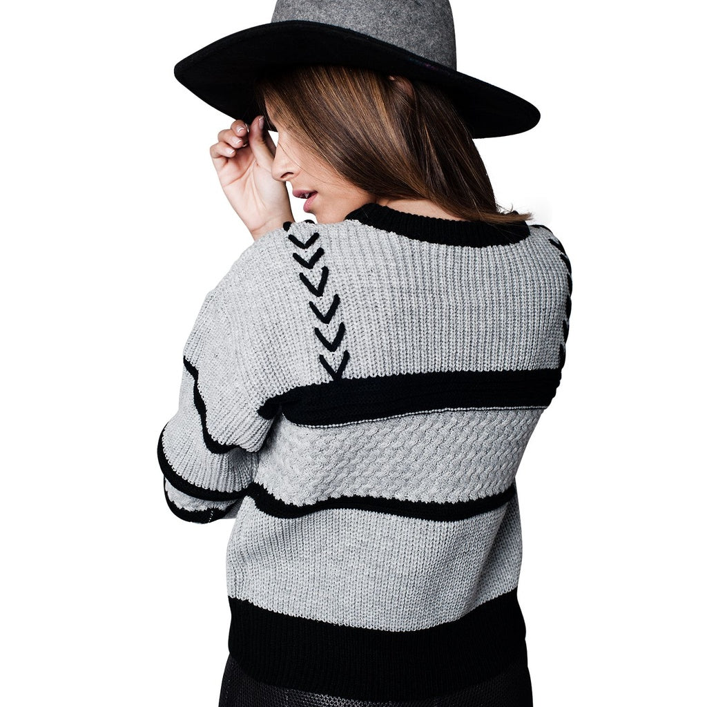Gray Striped Cable Knit Sweater - fifthandmaple