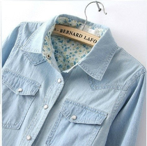 Blouse - Casual Denim Blouse (Up To 3xl)