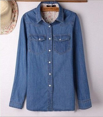 Casual Denim Blouse (Up to 3xl) - fifthandmaple